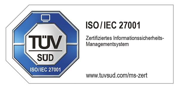 Unser Informationssicherheitsmanagementsystem ist zertifiziert nach ISO / IEC 27001